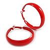 Large Red Enamel Hoop Earrings - 50mm Diameter