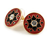18mm Red/ Black Enamel Flower Round Stud Earrings In Gold Tone