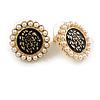 17mm Gold Tone Black Enamel White Faux Pearl Flower Stud Earrings