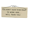 'YOU DON'T HAVE TO BE CRAZY TO WORK HERE... WE'LL TRAIN YOU!' Funny, Work Quote Wooden Novelty Rectangle Plaque Sign Gift Ideas