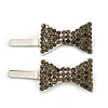 Pair Of Light Grey Pave Set Swarovski Crystal 'Bow' Magnetic Hair Slides In Rhodium Plating - 40mm Length
