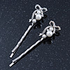 Pair Of Clear Crystal, Simulated Pearl Bow Hair Slides In Rhodium Plating - 55mm Length
