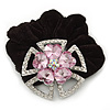 Large Layered Rhodium Plated Swarovski Crystal 'Flower' Pony Tail Black Hair Scrunchie - Light Pink/ Clear/ AB