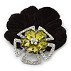 Large Layered Rhodium Plated Swarovski Crystal 'Flower' Pony Tail Black Hair Scrunchie - Olive Green/ Clear/ AB