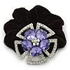 Large Layered Rhodium Plated Swarovski Crystal 'Flower' Pony Tail Black Hair Scrunchie - Amethyst/ Clear/ AB