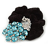Large Rhodium Plated Crystal Peacock Pony Tail Black Hair Scrunchie - Light Blue/ Clear