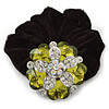 Large Layered Rhodium Plated Crystal Flower Pony Tail Black Hair Scrunchie - Olive Green/ Clear/ AB