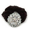 Large Layered Rhodium Plated Crystal Flower Pony Tail Black Hair Scrunchie - Clear/ AB