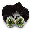 Large Rhodium Plated Crystal Bow Pony Tail Black Hair Scrunchie - Green/Clear