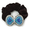 Large Rhodium Plated Crystal Bow Pony Tail Black Hair Scrunchie - Light Blue/Clear