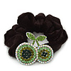 Rhodium Plated Swarovski Crystal 'Double Cherry' Pony Tail Black Hair Scrunchie - AB/ Green