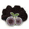 Rhodium Plated Swarovski Crystal 'Double Cherry' Pony Tail Black Hair Scrunchie - AB/ Amethyst