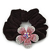 Medium Rhodium Plated Swarovski Crystal Flower Pony Tail Black Hair Scrunchie - Pink/ Clear