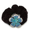 Medium Rhodium Plated Swarovski Crystal Flower Pony Tail Black Hair Scrunchie - Blue