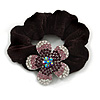 Medium Rhodium Plated Swarovski Crystal Flower Pony Tail Black Hair Scrunchie - Purple/ Clear