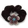 Medium Rhodium Plated Swarovski Crystal Flower Pony Tail Black Hair Scrunchie - Purple/ Clear