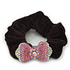 Rhodium Plated Swarovski Crystal 'Bow' Pony Tail Black Hair Scrunchie - Fuchsia/ Pink/ AB