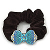 Rhodium Plated Swarovski Crystal 'Bow' Pony Tail Black Hair Scrunchie - Azure/ Blue/ AB