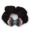 Rhodium Plated Swarovski Crystal 'Bow' Pony Tail Black Hair Scrunchie - Amethyst/ Purple/ AB