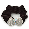 Rhodium Plated Swarovski Crystal 'Bow' Pony Tail Black Hair Scrunchie - Clear/ AB