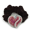 Rhodium Plated Swarovski Crystal Crinkle'Heart' Pony Tail Black Hair Scrunchie - AB/ Pink