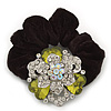 Large Layered Rhodium Plated Swarovski Crystal Rose Flower Pony Tail Black Hair Scrunchie - Olive Green/ Clear/ AB