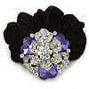 Large Layered Rhodium Plated Swarovski Crystal Rose Flower Pony Tail Black Hair Scrunchie - Amethyst/ Clear/ AB