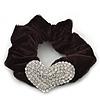 Rhodium Plated Swarovski Crystal 'Asymmetrical Heart' Pony Tail Black Hair Scrunchie - Clear