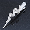 Silver Plated Clear/ Black Austrian Crystal Ribbon Hair Beak Clip/ Concord Clip - 13cm Length