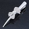 Bridal/ Prom/ Wedding Silver Tone Clear Crystal Bow  Hair Beak Clip/ Concord Clip - 13cm Length