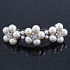 Large Bridal Wedding Prom Silver Tone Crystal Simulated Pearl 'Triple Flower' Barrette Hair Clip Grip - 10cm Across