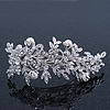 Bridal Wedding Prom Silver Tone Crystal Diamante & Simulated Pearl Floral Barrette Hair Clip Grip - 85mm Across