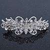 Bridal Wedding Prom Silver Tone Diamante 'Flower' Barrette Hair Clip Grip - 80mm Across