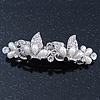 Bridal Wedding Prom Silver Tone Simulated Pearl Diamante 'Butterfly' Barrette Hair Clip Grip - 75mm Across