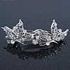 Bridal Wedding Prom Silver Tone Diamante 'Butterfly' Barrette Hair Clip Grip - 90mm Across