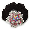Large Sculptured Rhodium Plated Swarovski Crystal Flower Pony Tail Black Hair Scrunchie - Pink/ Clear