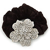 Large Sculptured Rhodium Plated Swarovski Crystal Flower Pony Tail Black Hair Scrunchie - Clear