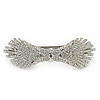 Bridal Wedding Prom Silver Tone Pave-set Diamante 'Contemporary Bow' Barrette Hair Clip Grip - 90mm Across