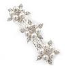 Bridal Wedding Prom Silver Tone Simulated Pearl Diamante 'Triple Flower' Barrette Hair Clip Grip - 80mm Across