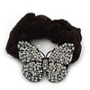 Black Tone Swarovski Crystal 'Butterfly' Pony Tail Black Hair Scrunchie - Clear