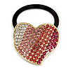 Large Gold Plated Clear and Pink Crystal Heart Pony Tail Hair Elastic/Bobble