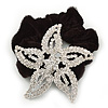 Large Rhodium Plated Swarovski Crystal 'Star' Pony Tail Black Hair Scrunchie - Clea