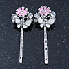 2 Enamel Crystal 'Flower & Butterfly' Hair Grips/ Slides In Rhodium Plating - 50mm Across