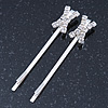 2 Bridal/ Prom Crystal 'X' Shape Hair Grips/ Slides In Rhodium Plating - 55mm Across