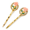 2 Vintage Inspired Crystal 'Rose' Hair Grips/ Slides In Gold Plating - 50mm Across