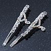 2 Bridal/ Prom Crystal 'Heart' Hair Grips/ Slides In Rhodium Plating - 60mm Across