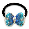 Medium Rhodium Plated Clear/Azure/Blue Crystal Bow Pony Tail Hair Elastic/Bobble