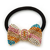 Medium Gold Plated Clear/Pink/Orange/Teal Crystal Bow Pony Tail Hair Elastic/Bobble
