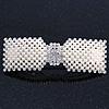 Bridal Wedding Prom Silver Tone Crystal Simulated Pearl 'Bow' Barrette Hair Clip Grip - 90mm Across