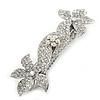 Bridal Wedding Prom Silver Tone Diamante 'Double Flower' Barrette Hair Clip Grip - 90mm Across